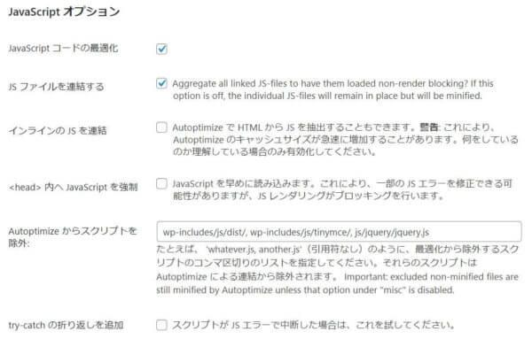 autoptimize javascript option